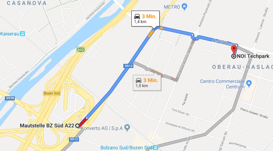 Anfahrt Knoten BZ Süd - NOI